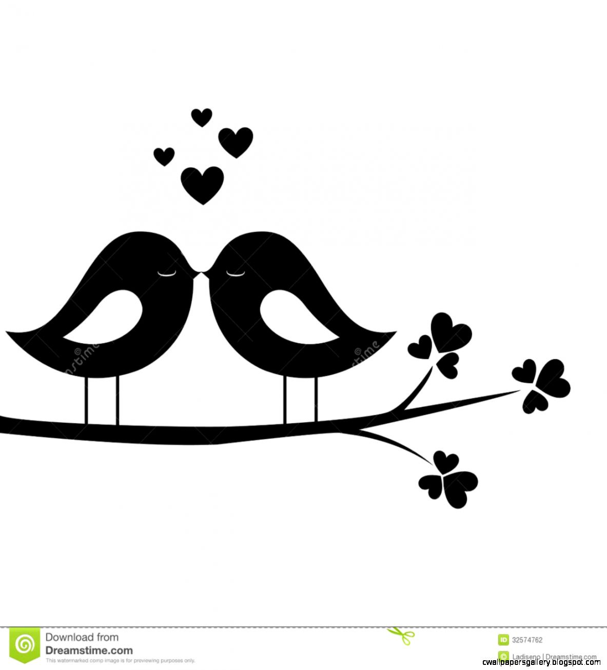 Love Bird Silhouette Clip Art.