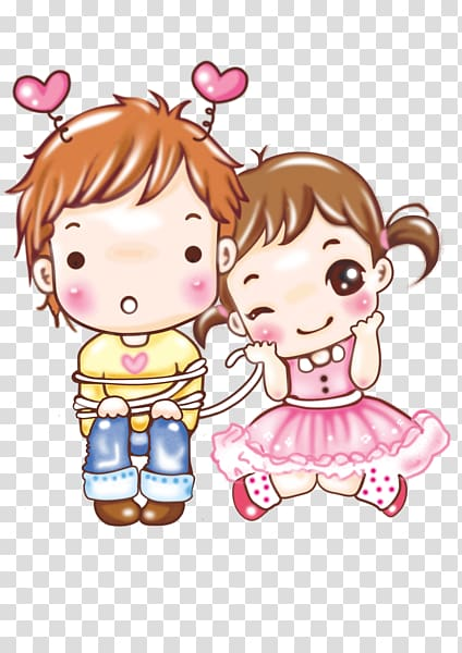 Cartoon couple , Lovely couple transparent background PNG.