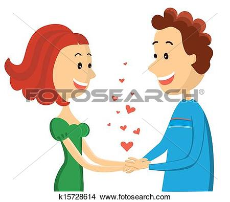 Clipart of Happy couple.Vector woman and man lovers on Valentin's.