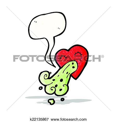 Clip Art of love sick heart cartoon k22135867.