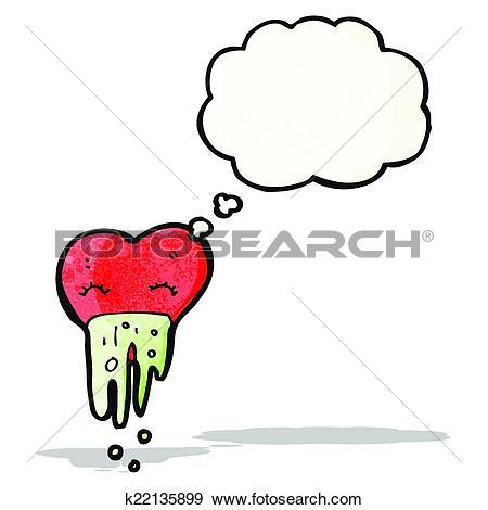 Clip Art of love sick heart cartoon k22135899.