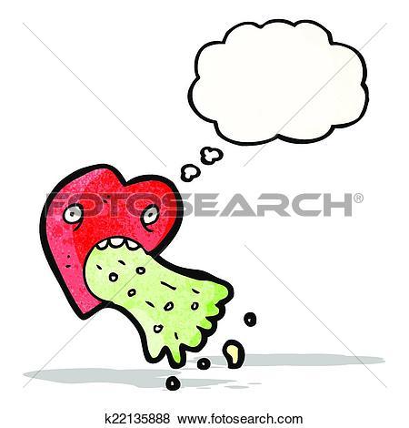 Clip Art of love sick heart cartoon k22135888.