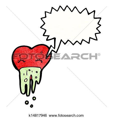 Clip Art of love sick heart cartoon k14817946.