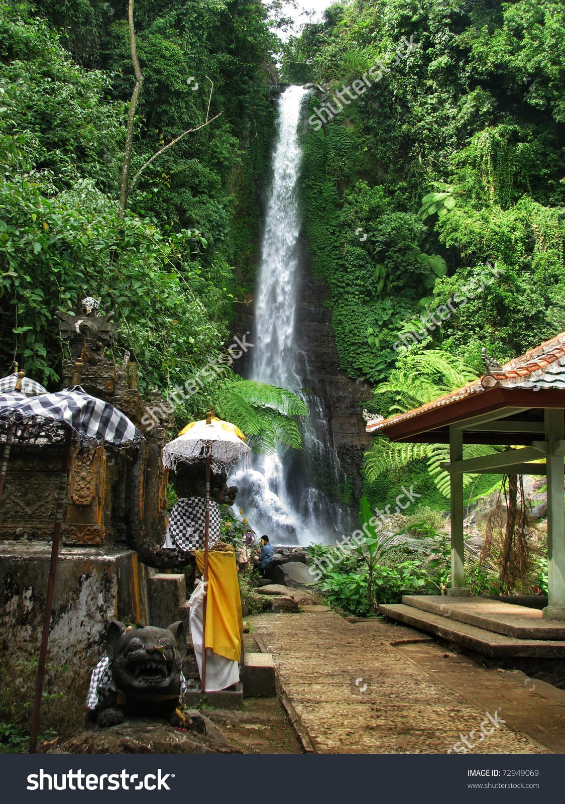 Bali: Impressive Gitgit Waterfalls, Surrounded By Beautiful Wild.