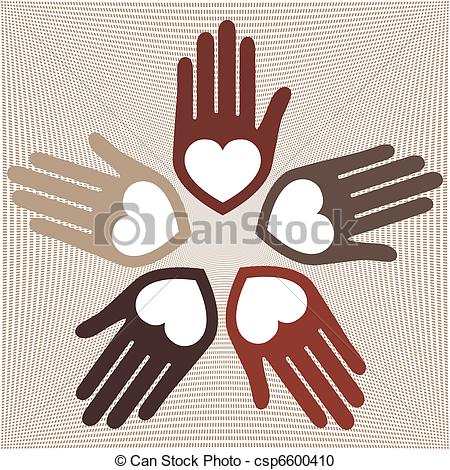 Vector Clipart of Circle of loving hands..