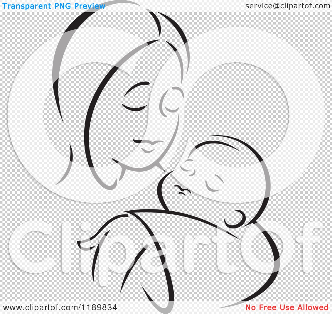 Cartoon of a Black and White Sketch of a Loving Mother Holding a.