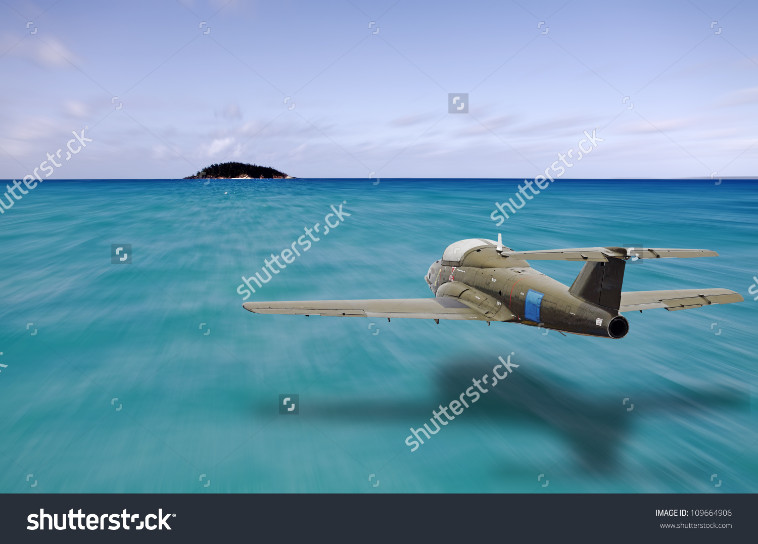 Vintage Jet Plane Flying Low Altitude Stock Photo 109664906.