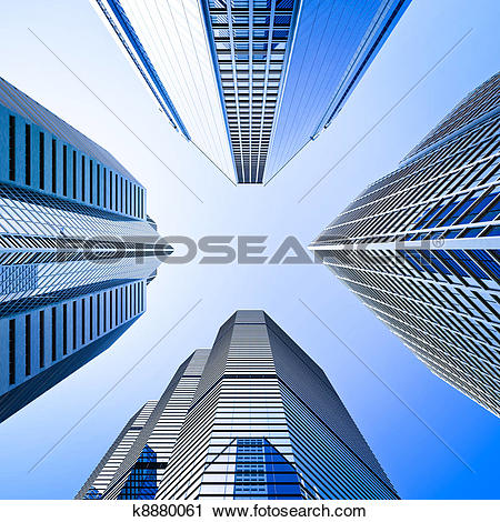 Clipart of blue highrise glass skyscraper intersection low angle.
