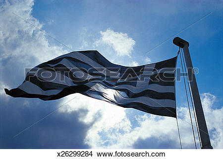 Stock Photo of Low Angle Shot of a Backlit Greek Flag x26299284.