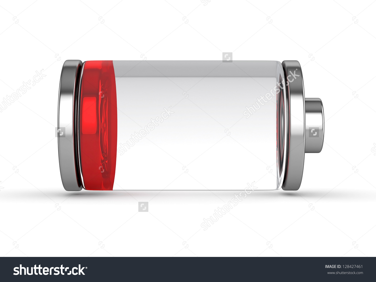 3d Low Battery Symbol White Isolated Stock Illustration 128427461.
