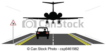 Vector Illustration of Low flying aircraft over road warning sign.