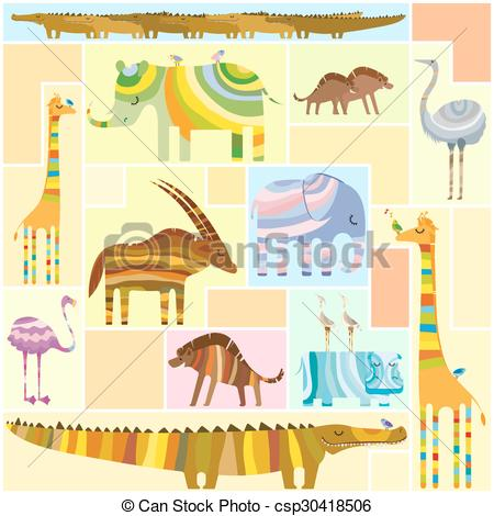 Vector Clipart of African Animals Tetris Collage Low Color.