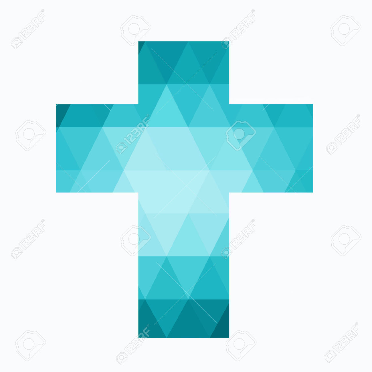 Easter Cross Clip Art Isolated On White Background, Low Poly.