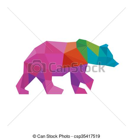 Vector Clip Art of Bear color polygon rainbow in low poly style.