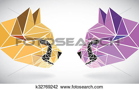 Clip Art of polygonal abstract geometric triangle cheetah. low.