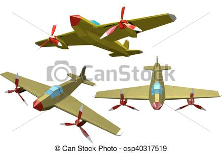 Vector Clip Art of Set of color vector military airplanes on a.