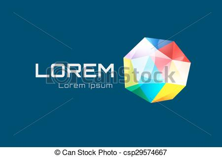 Clip Art Vector of Abstract triangle low poly globe logo design.
