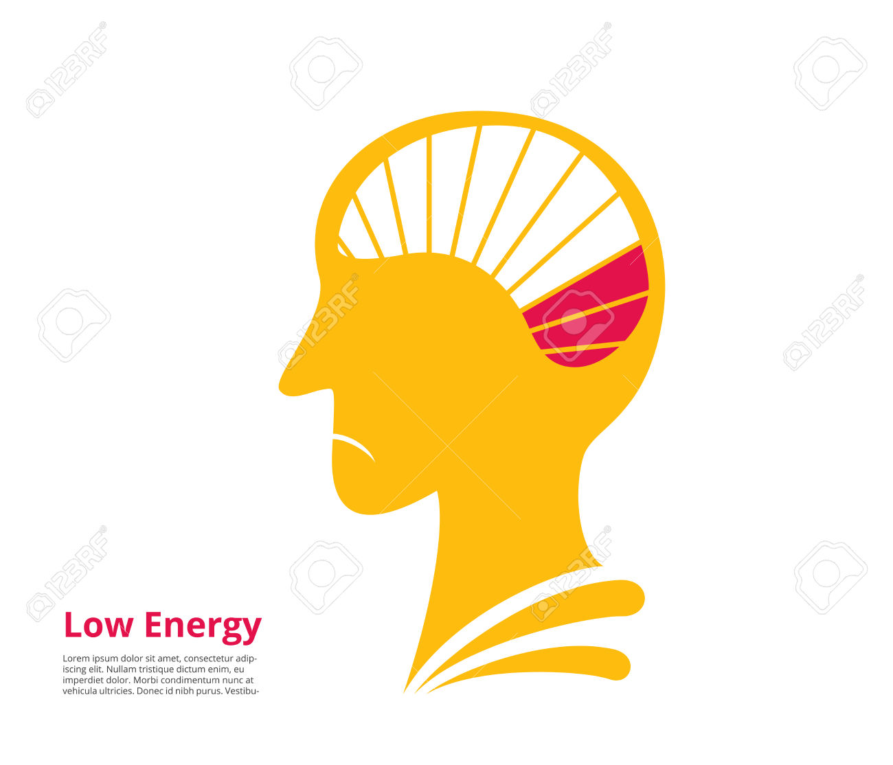 Low Energy, Low Power Of Brain. Vector Illustration Royalty Free.