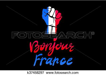 Clip Art of Low key picture of a fist painted in colors of france.