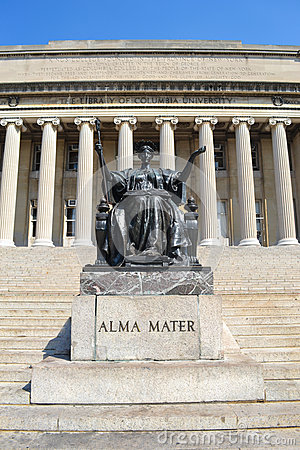 Columbia University Library And Alma Mater Statue Stock.