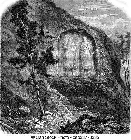 Drawings of Low relief of the rock Altlinster, vintage engraving.