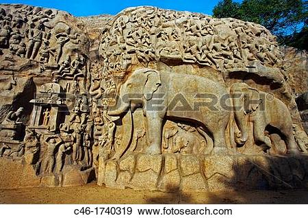 Stock Photograph of Low relief of Arjuna's Penance the Descent of.