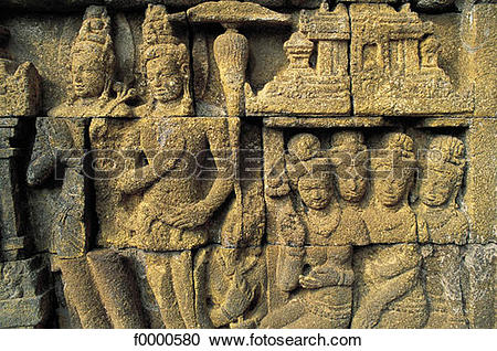 Stock Photography of archeological site, low relief, Asia, South.