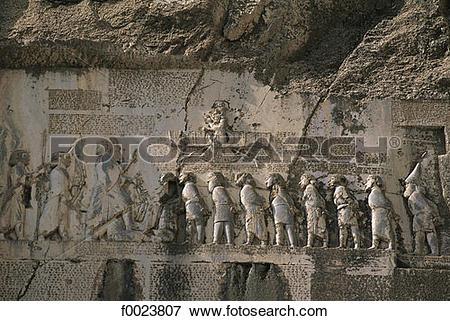 Picture of Iran, Kermanshah, Behistun, low relief detail f0023807.
