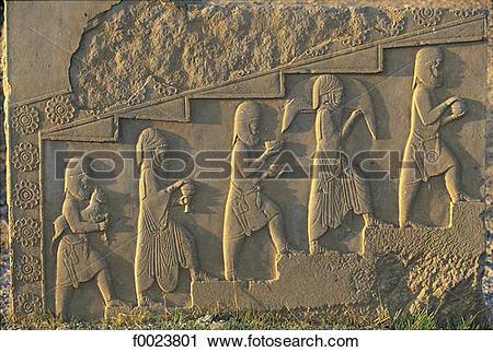Stock Photography of Iran, Fars, Persepolis, Palace of Darius, low.