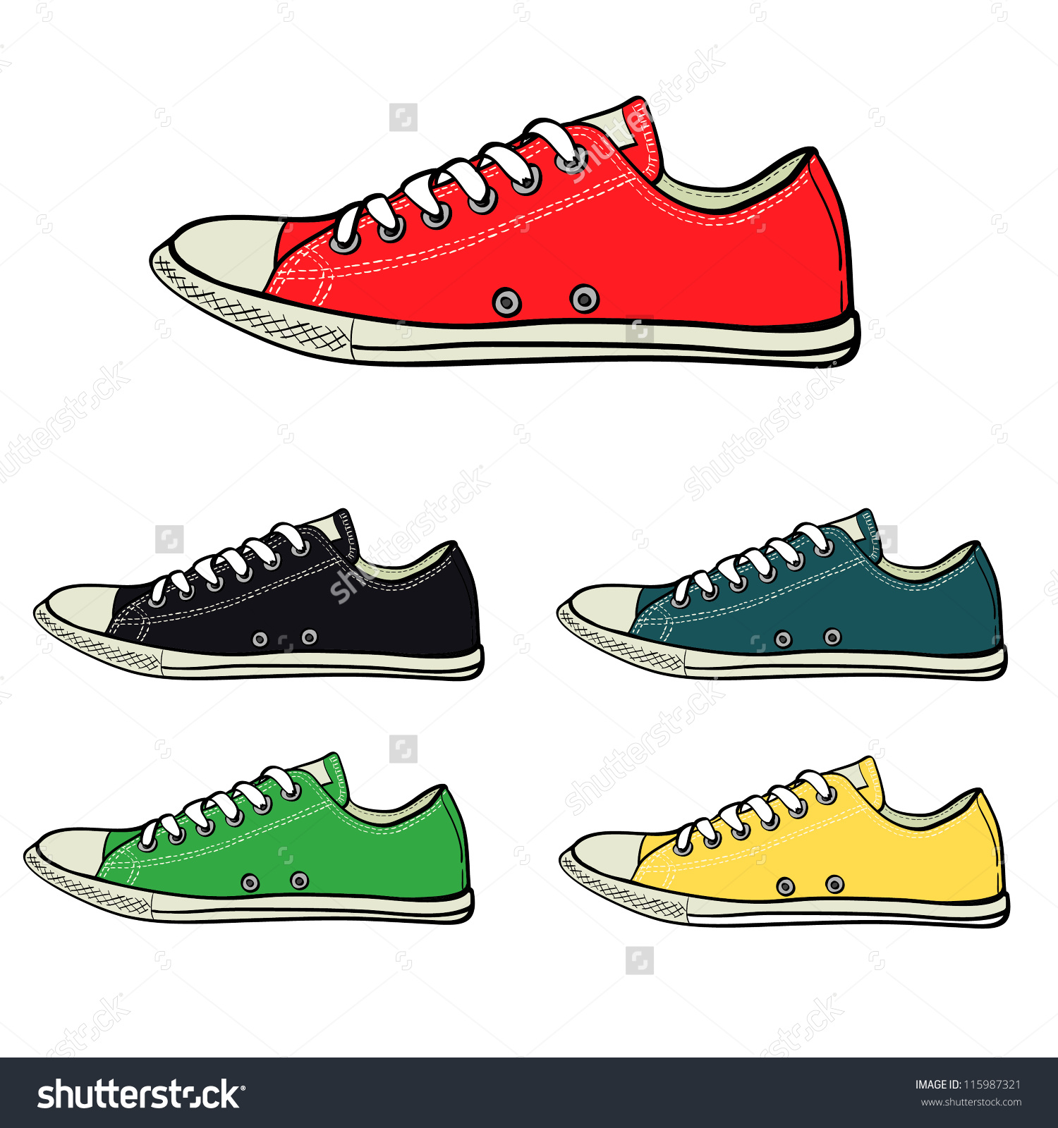 Set Low Sneakers Drawn Sketch Style Stock Vector 115987321.