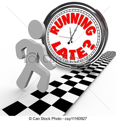 Clip Art of Running Late Racing Clock Time Tardiness Slow.