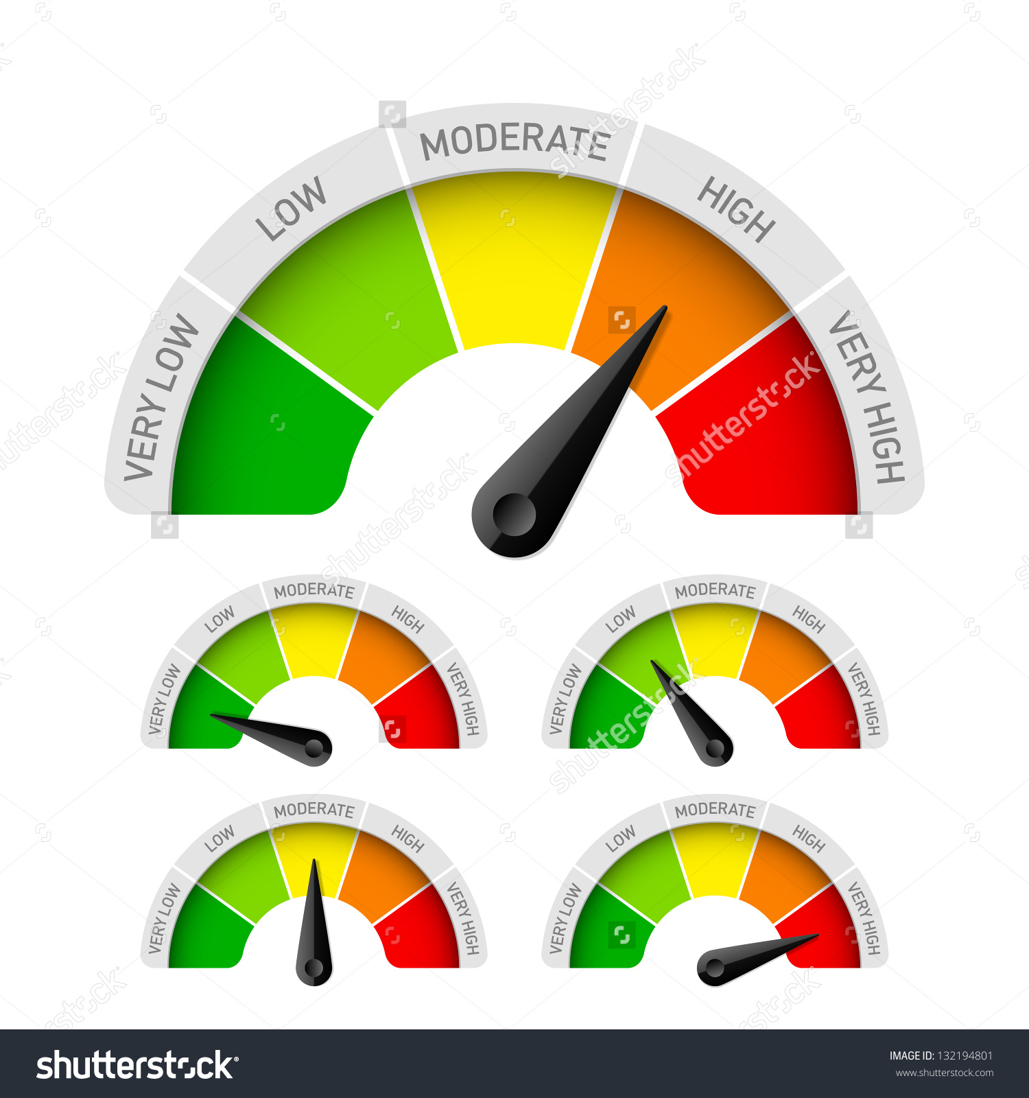 Low Moderate High Rating Meter Vector Stock Vector 132194801.