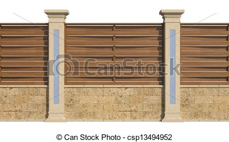 Stock Illustrations of wooden fence with low wall and pillars.