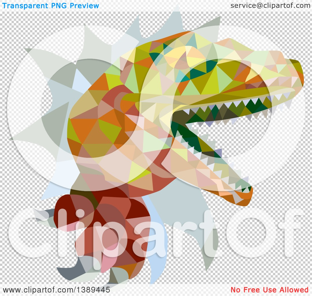 Clipart of a Retro Low Poly Geometric Lizard, Rator or.