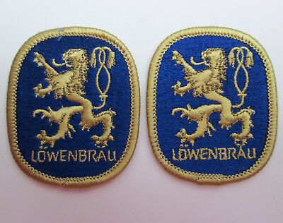 TWO LOWENBRAU BEER Patches 2 by 2 1/2 vintage Gold Lion Logo.