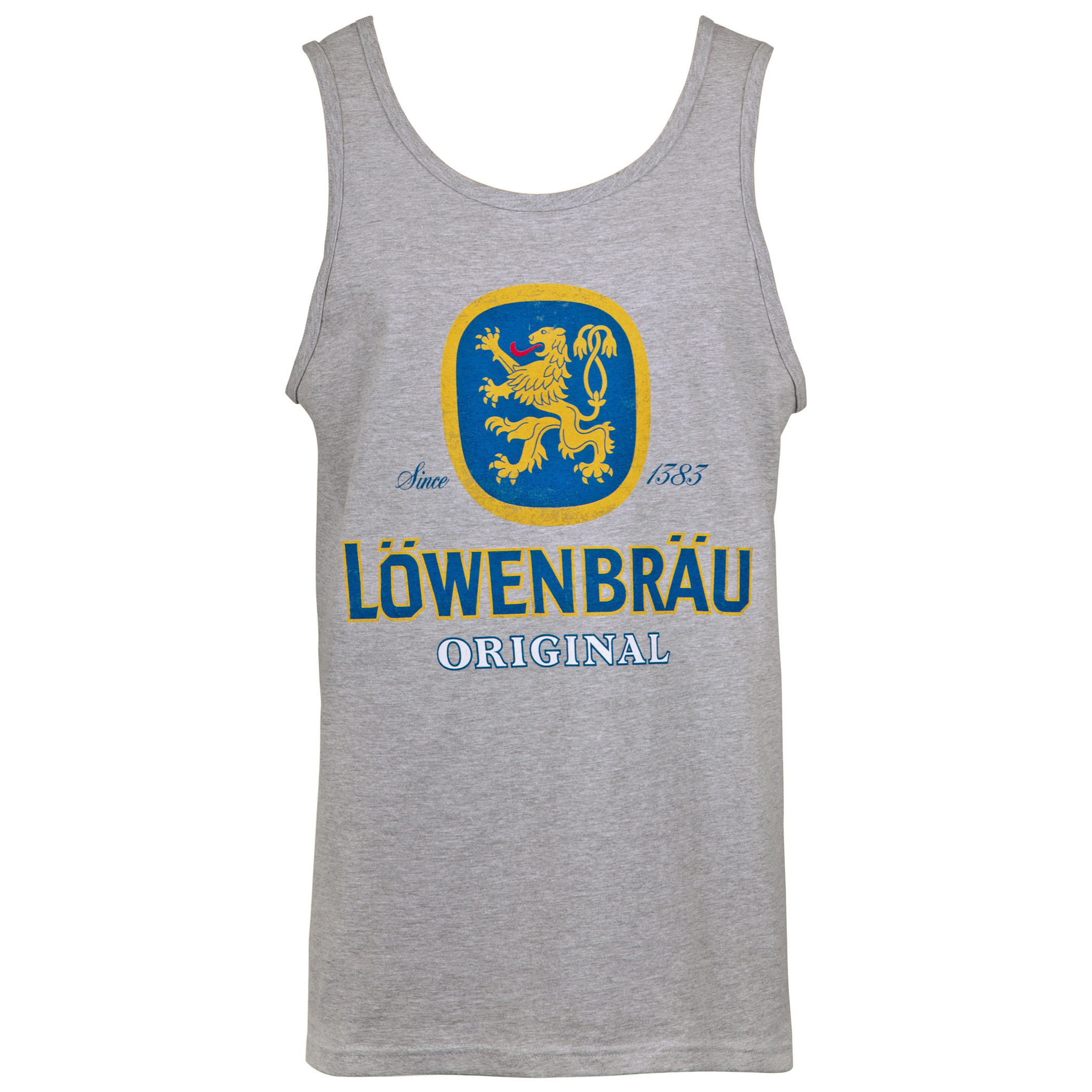 Lowenbrau Men\'s Grey Logo Tank Top.