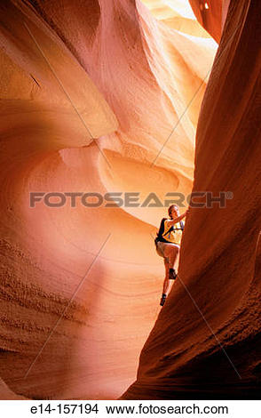 Stock Photo of Hiker. Lower Antelope Canyon. Arizona. USA e14.
