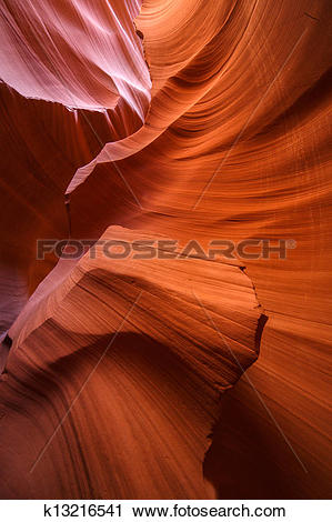 Stock Photography of Sand Waves in Lower Antelope Canyon k13216541.