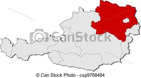 EPS Vector of Map of Austria, Lower Austria highlighted.