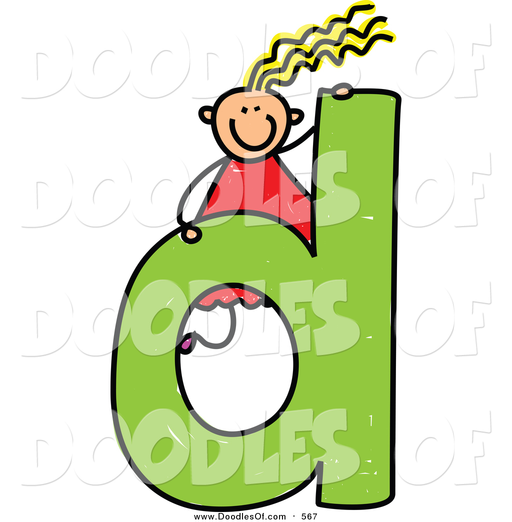 Vector Clipart of a Doodled Happy Blond White Girl on a Lowercase.