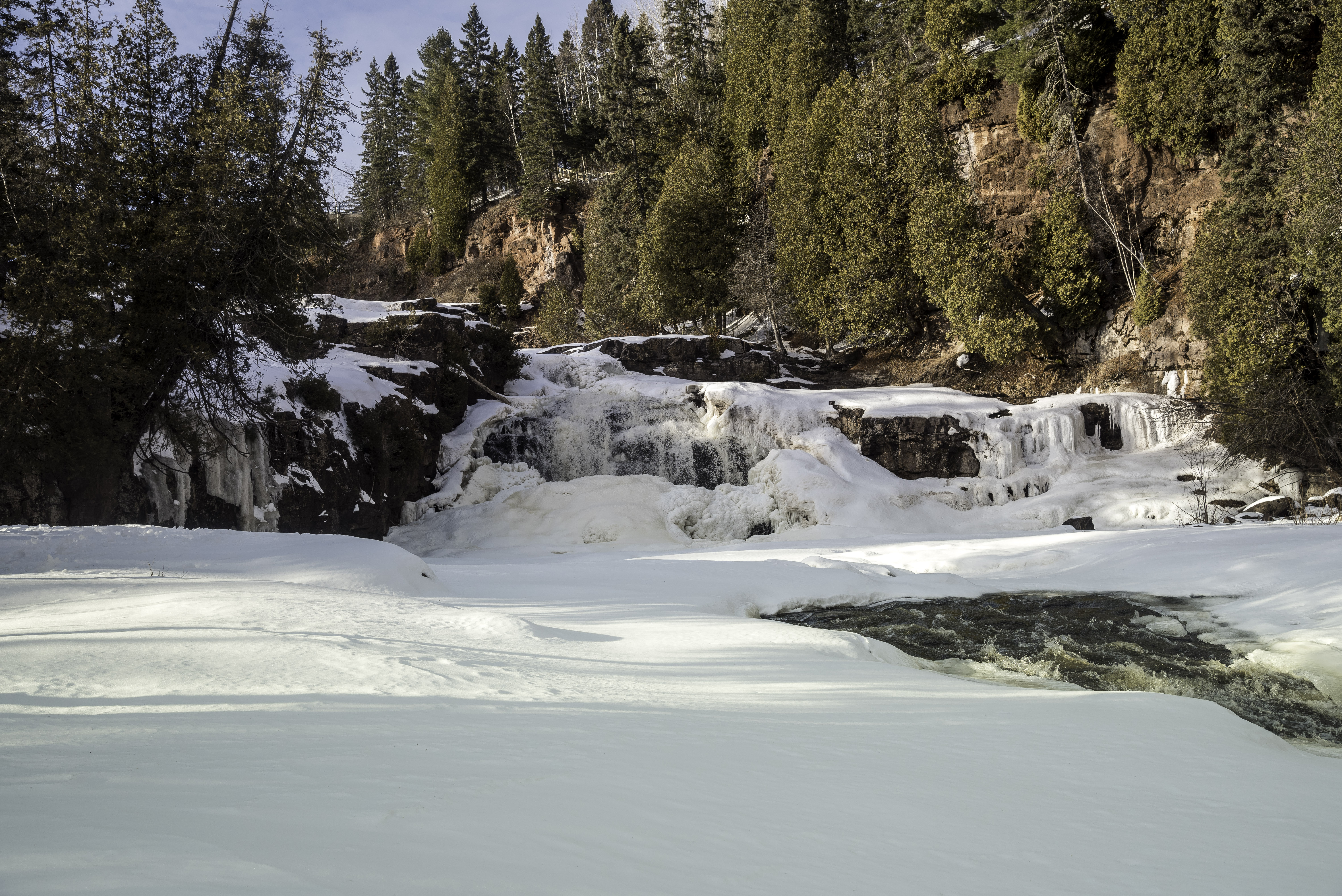 Cascading Right side of the Lower Falls at Gooseberry Falls State.