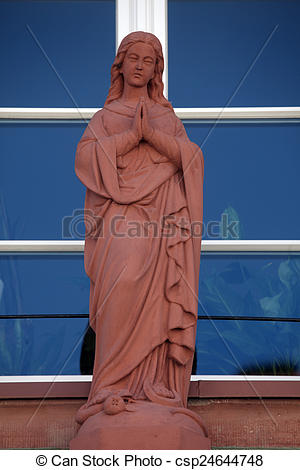 Stock Photo of Statue of Virgin Mary, Main street of Miltenberg in.
