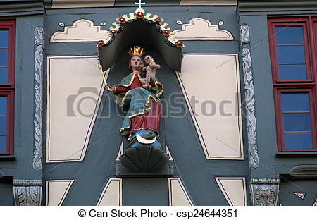 Stock Images of Madonna with child Jesus, Statue on the main.