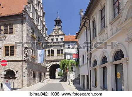 Stock Images of Main gate and City Hall, Marktbreit, Lower.