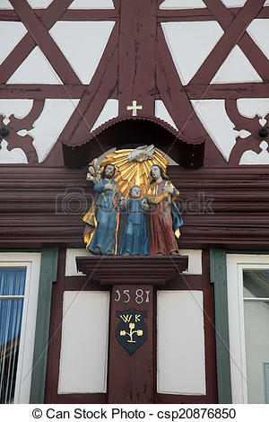 Stock Images of Holy Family, statue on the main street of.