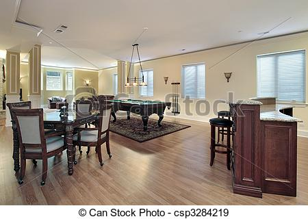 Stock Photographs of Lower level with bar and stools.