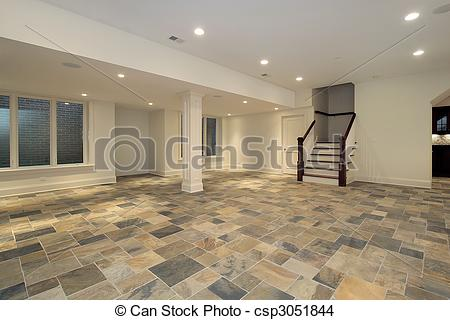 Stock Photo of Checkerboard floor in lower level.