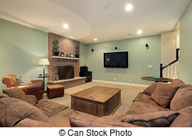 Stock Photographs of Lower level basement with bar and chairs.