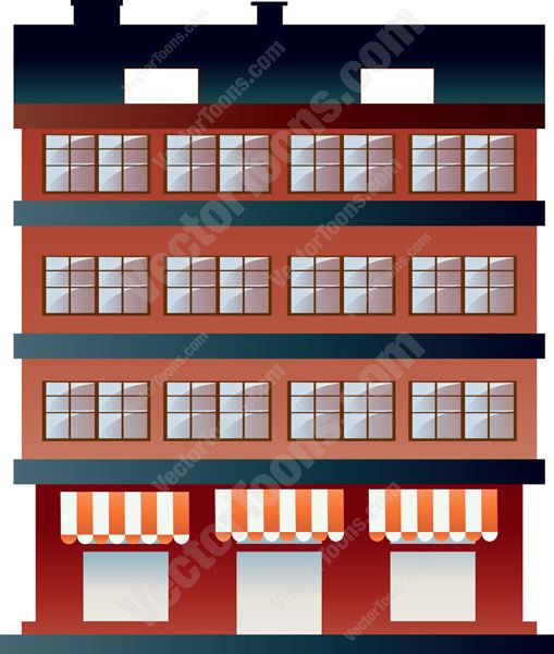 Red Brick Building With Lower Level Striped Awnings Cartoon Clipart.