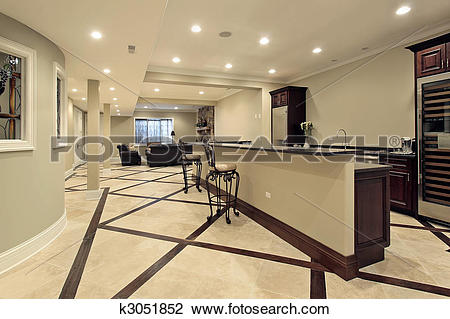 Stock Photo of Lower level with bar area k3051852.